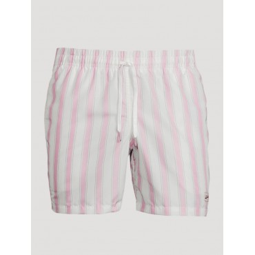 BATHER Man Recycled Swim Shorts In Striped Print Pink/ White 5000304285 TBPX5806