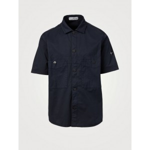 STONE ISLAND Man's Clothing Cotton Stretch Short-Sleeve Overshirt Navy Top Rated Trends 5000239063 QETI6759